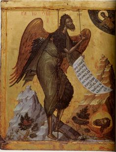St John the Baptist Angel of the Desert; Athos, Monastery of Pantokrator Byzantine Icons, Byzantine Art, Religious Icons, Religious Art, Paint Icon, Russian Icons, Jean Baptiste, Best Icons, John The Baptist