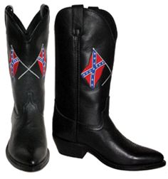 White Horse Mens Confederate Flag Black Cowboy Boots 711250 - via http://bit.ly/epinner