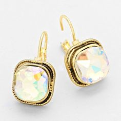 Gold and AB Crystal Stone Earrings