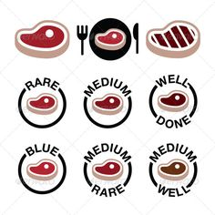 Steak Grilled Icons Set #GraphicRiver Vector icons set of beaf or pork steak isolated on white