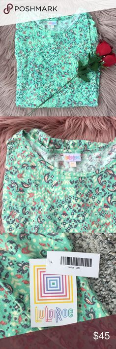 NWT LuLaRoe Irma Green Patterned Irma Size 3XL! Absolutely beautiful sea foam green pattern with shades of gray, red, and tan/cream LuLaRoe Tops Tees - Short Sleeve
