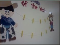 What a neat way to showcase student work in the western theme classroom!