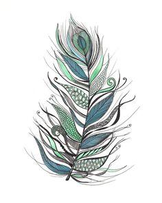 SALE Abstract Feather Art Print 8x10 por ArtbyTheLittleLeaf en Etsy