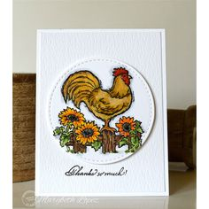 Serendipity Stamps Rooster On Fence Cling Set and Everyday Words Small Horizontal