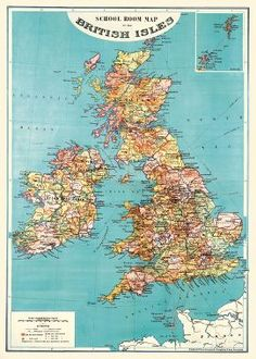 This unique gift wrap features a vintage school room map of the British Isles. A wonderful way to wrap gifts or to frame as art. Printed on Italian acid free paper. From Cavallini & Co.<br /><br />She