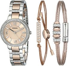 Amazon.com: Fossil Women's ES3697SET Virginia Three-Hand Stainless Steel Watch with Bracelet Set: Watches