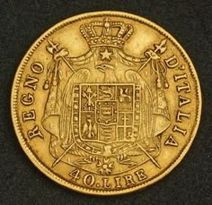 Italy Kingdom of Napoleon 40 Lire Gold Coin 1810