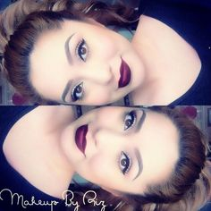 modern pin-up #makeup: winged liner, dark burgundy #red #lip (Talk that Talk) @makeupbyriz | for a less graphic look opt for a lighter lip color + smoked out liner