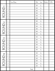 Rules of bunko and a great printable score card