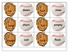 "Baseball Antonyms - can be played like ""concentration"" or ""Old Maid"". Repinned by SOS Inc. Resources.  Follow all our boards at http://Pinterest.com/sostherapy for therapy resources."