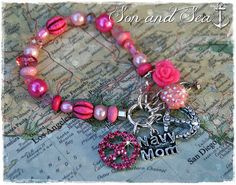 US Navy Mom rhinestone anchor beaded charm bracelet in pink by Son and Sea free US shipping