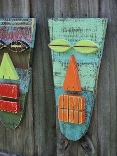 Tiki Mask, Wood Sculpture, Primitive Wall Hanging