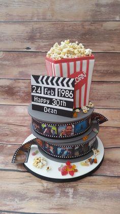 film reel cake popcorn www.cakesbykaren.co.uk