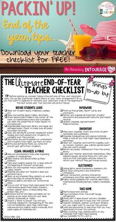Ultimate End of Year Teacher Checklist - keep yourself organized and motivated at the end of the school year!The Ultimate End of Year Teacher Checklist - keep yourself organized and motivated at the end of the school year! Teacher End Of Year, End Of School Year, School Teacher, Teacher Summer, School Daze, School Counselor, School Holidays, Classroom Checklist, Teacher Checklist
