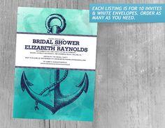 Vintage Anchor Nautical Bridal Shower Invitations
