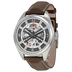 Hamilton Khaki Skeleton Dial Automatic Brown Leather Men's Watch H72515585