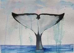 Whale Painting, Orca Whale Watercolor ocean art. Orca Whale Tail. Orca art, black & white whale, OOAK ocean art, Signed,11x15in, not a print. A splash of tropical art! Ocean decor for water-lovers. Beautiful whale tail in an atmospheric abstract sky! A seaside painting in cool blues, black and white. This piece is fun! Discover the freshness, you can almost smell the ocean in this seaside art. This signed painting has not been reproduced. You will have a one of a kind original work of art...