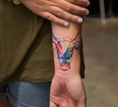 Watercolor cow tattoo by Georgia Grey