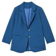 Women Blue Brief Temperament Blazer New Lapel Long Sleeve Loose Fit Jacket Fashion Work Wear Blazers For Women, Coats For Women, Women Blazer, Clothes For Women, Hot Shorts, Jacket Style, Blazer Jacket, Work Wear