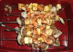 A shish kabob recipe that combines beef with shrimp and scallops for the perfect surf and turf dinner.