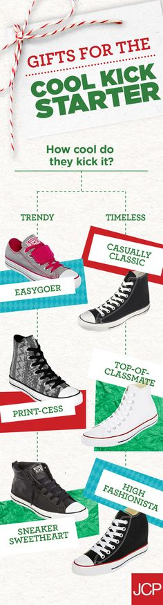 Shopping for the Cool Kick Starter in your life? Get ready…we have the perfect gift. Ready, set, CONVERSE. For someone who can never have too many pairs of Chucks Taylors – it's a no brainer! Timeless. Simple. Versatile. How about all of the above! But how do you choose?  Use this flowchart to determine which Converse is the perfect fit for this year's getter of gifts.