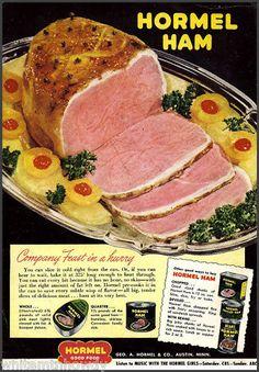 1950 HORMEL HAM Vintage Food AD