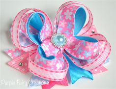 Pink & Baby Blue Flowers Stacked Boutique Bow - Baby Girl, Newborn, Infant, Toddler, Child, Teen, No Slip Grip Clippie - Hair Clip or Headband by PurpleFairyCreations