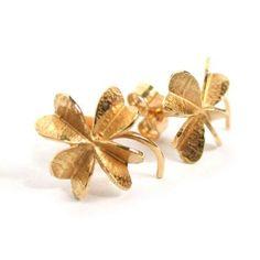 3-d four leaf clover earring studs