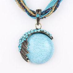Vintage Colorful Boho Style Pendant Necklace