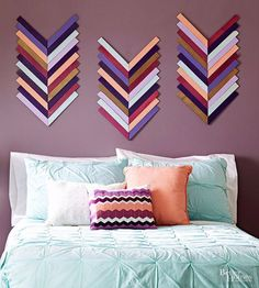 DIY Wall Art Ideas and Do It Yourself Wall Decor for Living Room, Bedroom, Bathroom, Teen Rooms | DIY Chevron Wall Art | Cheap Ideas for Those On A Budget. Paint Awesome Hanging Pictures With These Easy Step By Step Tutorials and Projects | http://diyjoy.com/diy-wall-art-decor-ideas