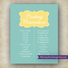 cooking conversions teal yellow printable wall art 8x10 jpeg file instant download