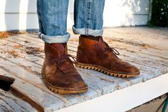 Not a huge fan of the weird resole choice on these, but I'm hoping to get my Clarks desert boots to have this awesome patina at some point down the road. Clarks Desert Boot, Desert Boots, Leather Chukka Boots, Suede Boots, Lace Up Boots, Leather Shoes, Men's Shoes, Boy Shoes, Gentleman