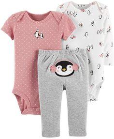 465d0851b Carter's Baby Girl 3-pc. Penguin Bodysuits & Pants Set Carters Baby  Clothes