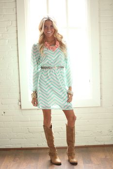 Shut Down Chevron Dress Mint - Modern Vintage Boutique