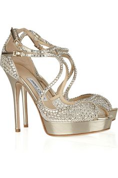 Jimmy Choo Fairview embellished mesh and leather sandals. $2,095