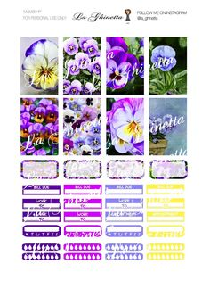 Printable WEEKLY sticker mix #5 -Digital File Instant Download - planner girl, Mambi, Classic happy planner, Pansy, Flower, yellow, violet di LaGhinetta su Etsy