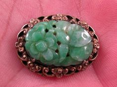 1930s Chinese silver brooch w carved Jade flowers