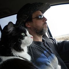 Great pets of the West: Carl Here I am with Carl, my little road-trip buddy. He's a perfect gentleman in the car: No backseat driving, no constant restroom stops.  Carl: When he's done riding shotgun, he takes a nap in the back. Colorado, New Mexico, Texas, Arizona, Utah, California. This cat's a road warrior. ― Mike Eiler