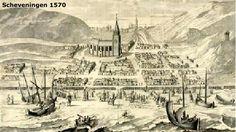 Scheveningen 1570. De geschiedenis van Scheveningen wordt gekenmerkt door een groot aantal verschrikkelijke stormen, die grote vernielingen aanrichtten. Omdat Scheveningen geen haven had, lagen de schepen op het strand en de vissers wilden zo dicht mogelijk bij hun schepen wonen.In 1530, 1538 en 1546 werd grote schade aangericht aan duinen en zeewering en in de winter van 1550-1551 teisterde storm na storm de Scheveninge kust.