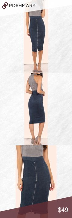 """Blue/Gray Mock Neck Faux Suede Zip Slit Dress Make a statement with this edgy number! Featuring a high mock neckline, faux suede material, back zip closure and front zipper leg slit detailing. Dress measures 42"""" in. from top to bottom hem. Team with gray pumps!               90% polyester 10% spandex Dresses Midi"""