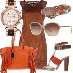 Per le giornate ancora di sole, servono occhiali da sole. Ho scelto questi stile diva in chiaro Burberry, abito in cognac, la borsa arancio intenso ed i sandali dal tacco largo riprendono i colori di questo outfit settembrino estivo.