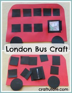 London Bus Craft - an easy craft for kids to celebrate this London icon! Around The World Crafts For Kids, Arts And Crafts For Teens, Art And Craft Videos, Easy Arts And Crafts, Crafts For Girls, Arts And Crafts Projects, Toddler Art Projects, Toddler Crafts, Projects For Kids