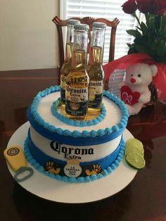 21st Birthday Cake For Guys, Beer Birthday Party, Birthday Cakes For Men, Corona Cake, Liquor Cake, Alcohol Cake, Birthday Cake Decorating, Diy Cake, Occasion Cakes