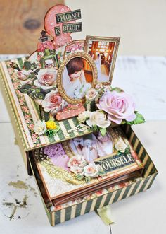 Pop Up Slider Drawer with graphic 45 portrait of a lady