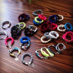 Colorfull bracelets jewelry made of tshirtyarn for girls