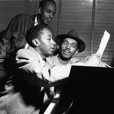 Elmo Hope, Percy Heath, Philly Joe Jones in session at RVG studio // photo by Francis Wolff