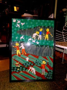 Vtg Chinese Folk Art  Painting  Gouache on Pith Paper Rice Harvest Pan Xiaoling