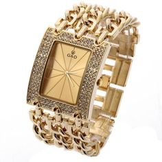 Gold Rhinestone Watch - Shop With Bitcoin