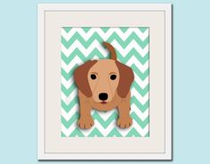 Dog art print, chevron baby nursery art for children. Kids puppy dog wall art. 11x14 Dachshund print by WallFry. $22.00, via Etsy.