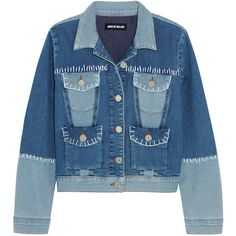 House of Holland Patchwork stretch-denim jacket ($190) ❤ liked on Polyvore featuring mid denim and house of holland